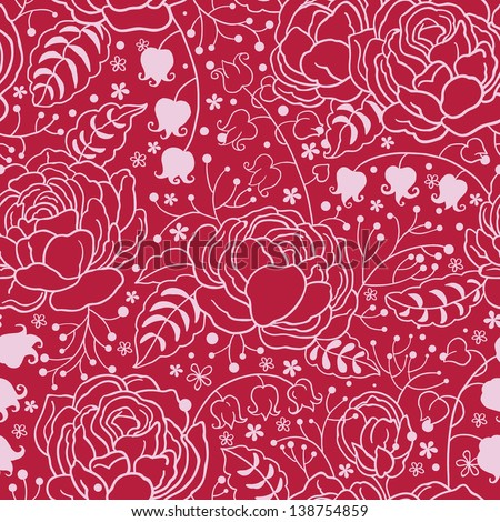 Old English Roses Lace Seamless Pattern. Copy that square to the side and you'll get seamlessly tiling pattern which gives the resulting image ability to be repeated or tiled without visible seams. - stock vector