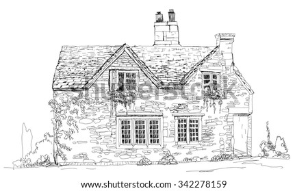 Old English Stone Cottage Sketch Collection