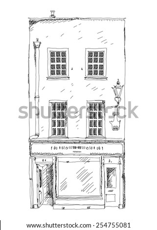 Old English town house with small shop or business on ground floor. Bond street, London. Sketch collection - stock vector