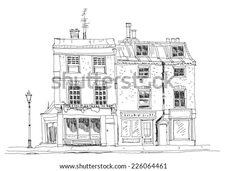 Old English town houses with shops on the ground floor. Sketch collection of famous  buildings - stock vector
