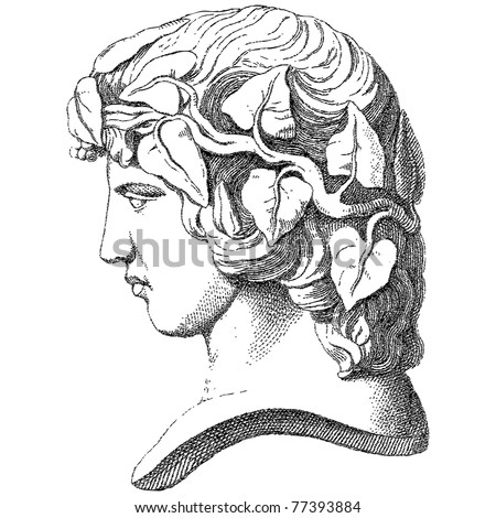 Old engraved face illustration. Vector. Others in my portfolio. - stock vector