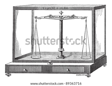 Old engraved illustration of Analytical balance scale isolated on a white background. Industrial encyclopedia E.-O. Lami - 1875. - stock vector