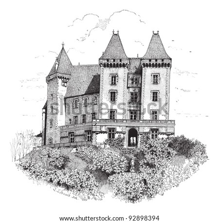 Old engraved illustration of Chateau de Pau or Pau Castle. Dictionary of words and things - Larive and Fleury - 1895 - stock vector