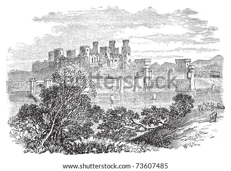 Old engraved illustration of Conway Castle, in North Wales. Build by King Edward between 1283 and 1289. Scan from Trousset Encyclopedia 1886 - 1891. Live trace vector. - stock vector