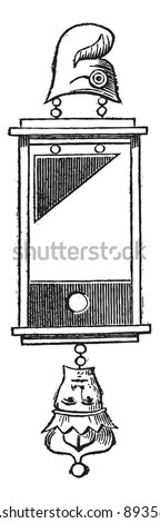 Old engraved illustration of earring of guillotine (1793) isolated on a white background. Industrial encyclopedia E.-O. Lami - 1875. - stock vector