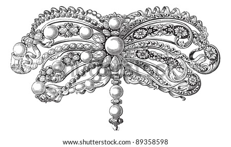Old engraved illustration of enamelled Brooch embellished with pearls and diamonds which belongs to seventeenth century, isolated on a white background. Industrial encyclopedia E.-O. Lami - 1875. - stock vector