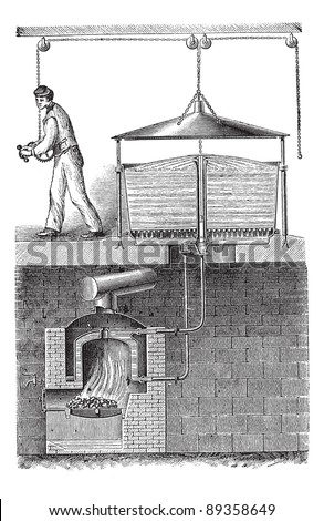 Old engraved illustration of fixed washing machine with detergent fixture fixed on it. Industrial encyclopedia E.-O. Lami - 1875. - stock vector