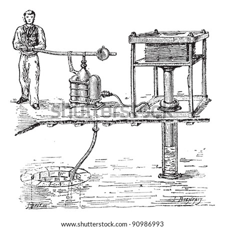 Old engraved illustration of Hydraulic press with one person working with it. Dictionary of words and things - Larive and Fleury - 1895 - stock vector