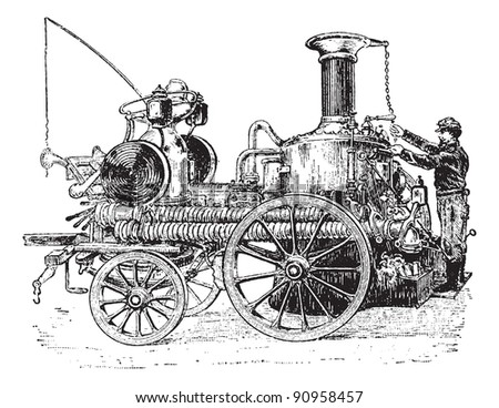 Old engraved illustration of steam pump on carriage, it is used against fire. Dictionary of words and things - Larive and Fleury, 1895