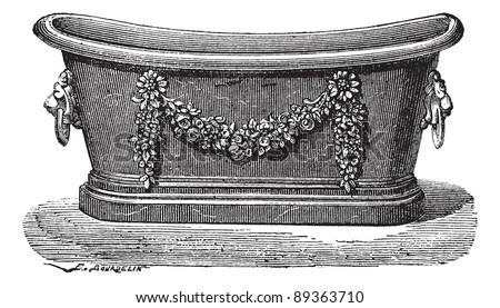 Old engraved illustration of zinc bathtub. Industrial encyclopedia E.-O. Lami - 1875. - stock vector