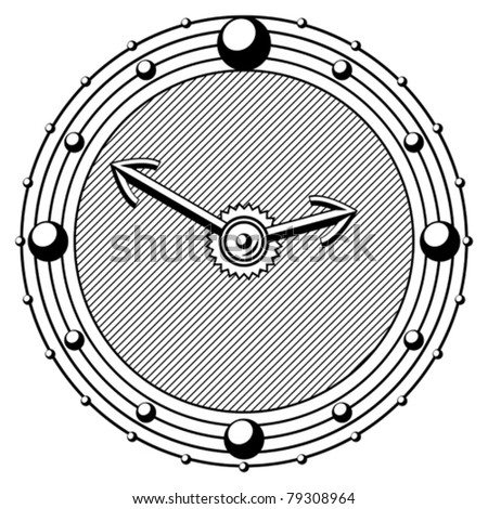 old engraving style timepiece black and white vector eps 10 - stock vector