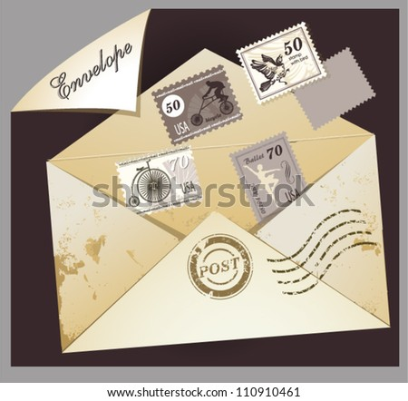 Old envelope with postage stamps - stock vector
