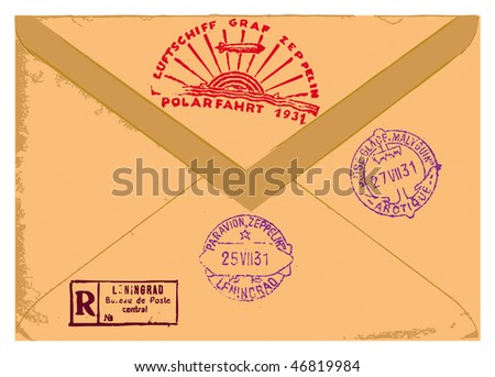 Old envelope with stamps. - stock vector