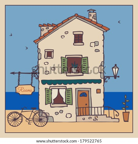 Old European house. Hand-drawn sketch. Vector illustration. - stock vector