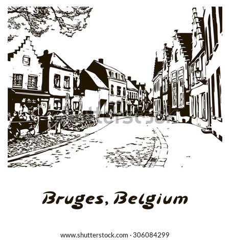Old European Town. Line drawing - beautiful view in Bruges, Belgium. Street with house and pavement. Vector illustration on white background