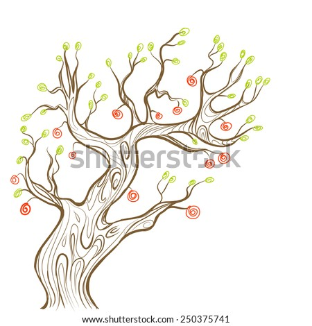 old fairy apple tree on white background, kids design, vector