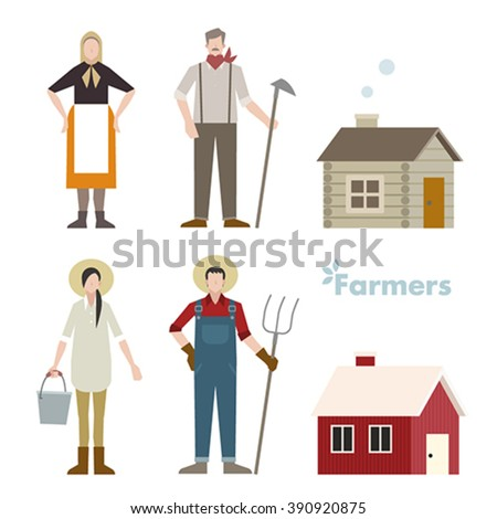 old farmer and young farmer - stock vector