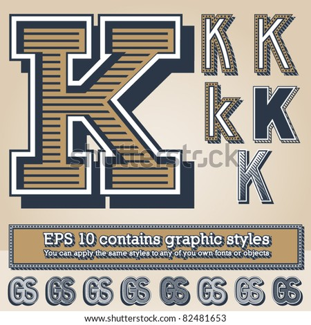 Old fashioned alphabet. Letter k. File contains graphic styles available in the Illustrator 10 + You can apply the styles to any of you own fonts or objects - stock vector