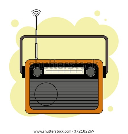 Old-fashioned analog orange radio receiver with antenna in vector, isolated on abstract yellow background - stock vector