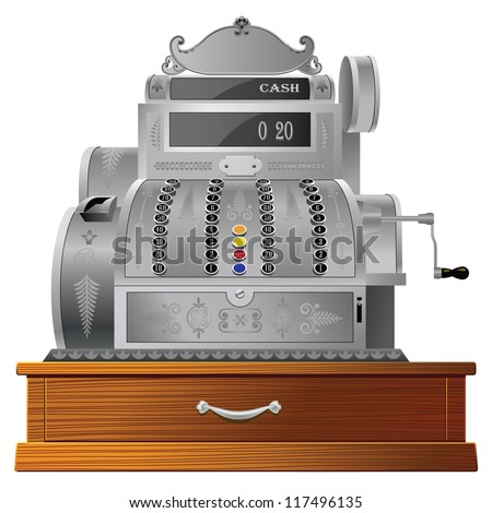 Old fashioned cash register isolated on white - stock vector