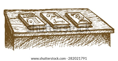 Old-fashioned desk with collection of publicism laid out display for sale. Vector freehand ink drawn backdrop sketch in art scribble style pen on paper. View close-up with space for text - stock vector