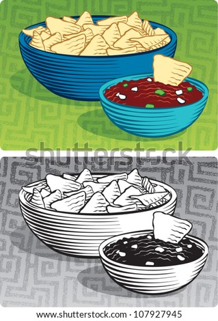 Old fashioned etched style illustration of a large bowl of corn chips sitting next to a small bowl of salsa. In color and black and white.