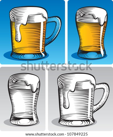 Old fashioned etched style illustration of lager beer in a mug and in a beer glass. In color and black and white. - stock vector