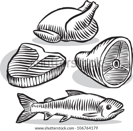 Old fashioned etched style illustration of various common meat products in black and white, isolated on white. - stock vector