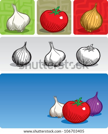 Old fashioned etched style illustration of vegetables commonly used in Italian cuisine (garlic, tomato, and onion). Vegetables are presented individually, in a composition, in black/white, and color. - stock vector