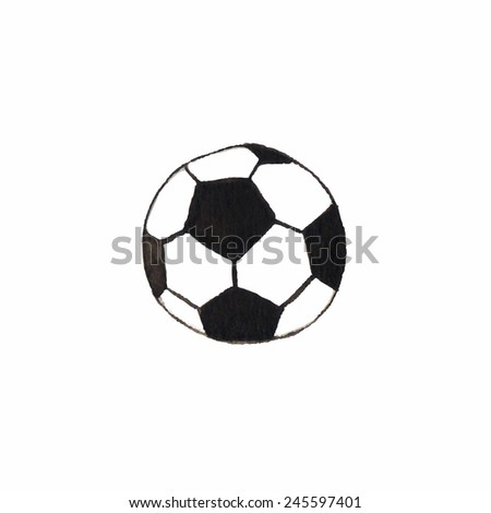 Old fashioned foosball ball. Watercolor object on the white background, aquarelle. Vector illustration. Hand-drawn decorative element useful for invitations, scrapbooking, design.  - stock vector