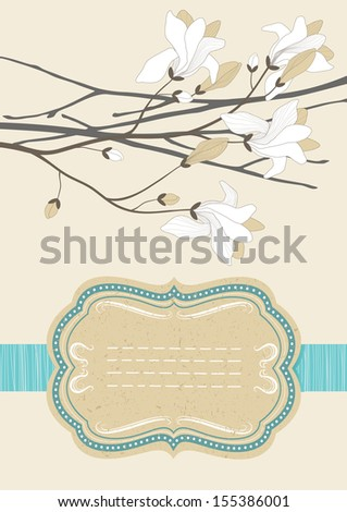 Old-fashioned frame and blooming branch - stock vector