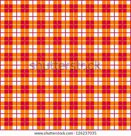 Old fashioned gingham check pattern in red & orange for scrapbooks, restaurants, fabrics, arts, crafts and decorating. Pattern swatch will seamlessly fill any shape. - stock vector