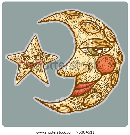 Old-Fashioned half moon with star in engrave style - stock vector