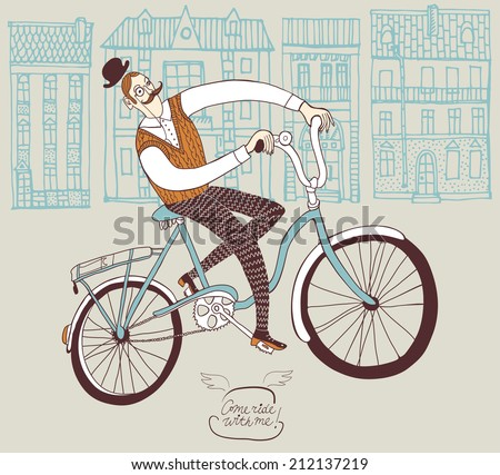 Old-fashioned  hand drawn man on a bicycle. - stock vector