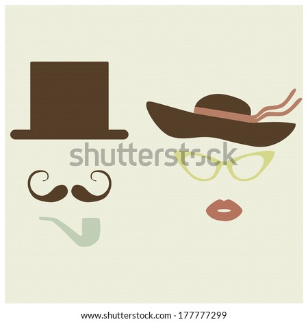 Old fashioned lady and gentleman accessories. Retro, vintage, vector illustration.