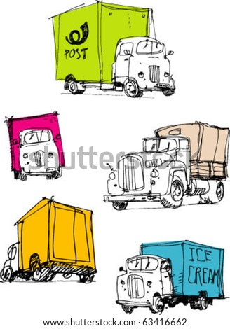 old-fashioned lorries. handmade sketch