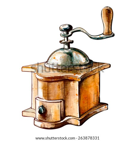 Old-fashioned manual coffee burr-mill. Outline sketch with a watercolor traced background in a separate layer isolated against white background. EPS10 vector illustration. - stock vector
