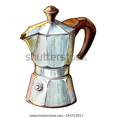 Old Fashioned Moka Pot For Brewing Espresso Coffee Traced Watercolor Sketch With A Line