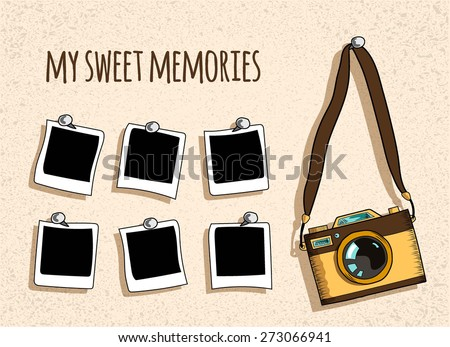 old- fashioned photo camera and six photo handing on nails, retro textured beige background,   sketch vector illustration - stock vector