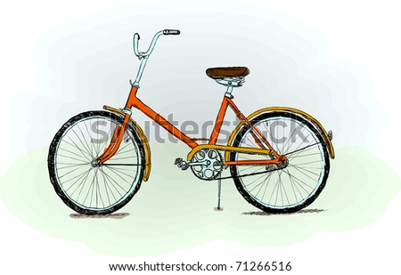 Old-fashioned red bicycle - rough color vector illustration - stock vector