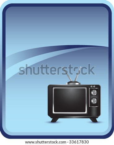 old-fashioned television on blue background