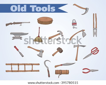 Old fashioned tools - stock vector