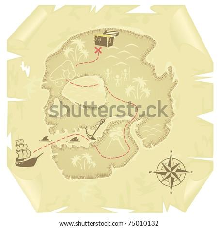 Old-fashioned treasure map - stock vector