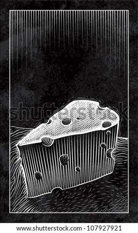 Old fashioned woodcut style illustration of a wedge of swiss cheese sitting on a table on a black background. Plenty of copy space.