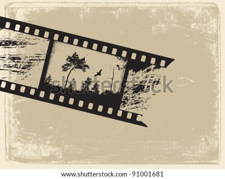 old film on old paper, vector illustration - stock vector