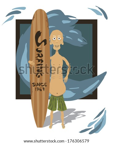 Old fit male character smiling and posing with his wooden long board. With shadow on the white floor. Background is a frame smaller then the art with water drops spilling out from the main wave. - stock vector