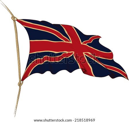 Old flag of Great Britain painted as engraving winds in the wind - stock vector