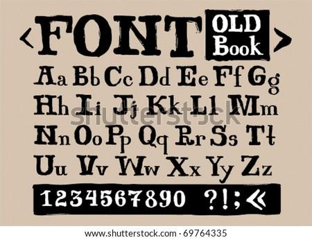 Old font, upper+lower case - stock vector