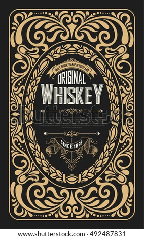 Old frame label design for Whiskey and Wine label, Restaurant, Beer label.