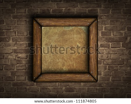 old frame on a brick wall - stock vector